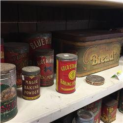 Shelf Lot - TINS: Baking Powder Collection w/Bread Box