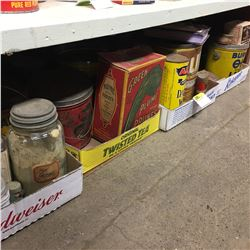 Shelf Lot - TINS: 4 Trays with Variety of Confectioner Tins & Jars