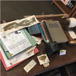 Group of Edison Items (Ephemera, Magnet, Calculator, etc !)