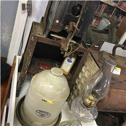 The Official Brown-Duvel Moisture Tester, Medalta Waterer, Coal Oil Lamp, etc