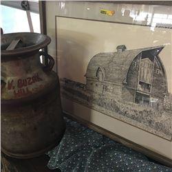 Cream Can & Framed Barn Scene Print