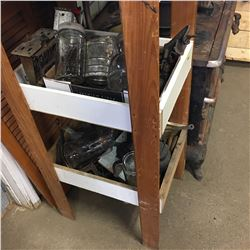 3 Tier Shelving Unit w/Nice Selection of Vintage Kitchen Contents !! Must Look !
