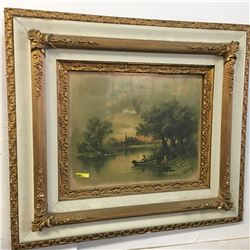 Framed Picture  Fishing Scene