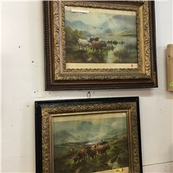 """Pair of Framed Pictures """"Sunrise on Loch Katrine"""" & """"Sunset on the Loch"""""""