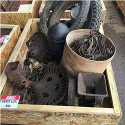 CRATE LOT #8: Cast Iron Seats, Tires, Planter, Steam Engine Part, etc !