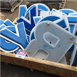 CRATE LOT #12: Variety of 2' Blue/White Letters (22 Approx.)