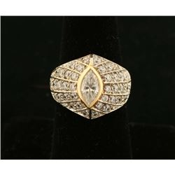 Ladies Marquise Cut Diamond Ring Set