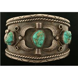 Old Pawn Native American Sterling & Turquoise Cuff