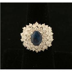 Oval Sapphire & Diamond Ring Set