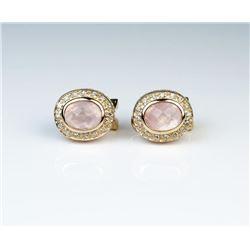 Beautiful Pink Rose Quartz & Diamond Earrings