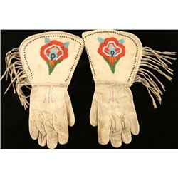 Plains Indian Leather Beaded Gauntlets