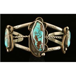 Old Pawn Sterling & Turquoise Handmade Cuff