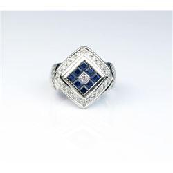 Striking Fine Sapphire & Diamond Ring