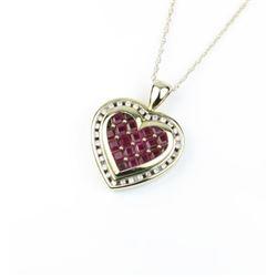 Gorgeous Heart Shaped Ruby & Diamond Pendant