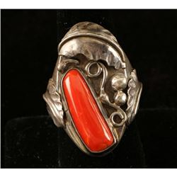 Native American Sterling & Coral Ring