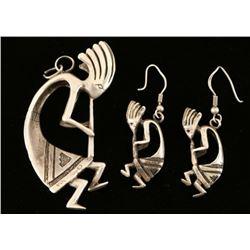 Sterling Kokopelli Pendant & Earrings Set