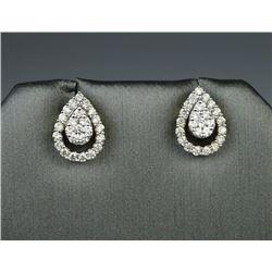 Dazzling Custom Made Pear Design Diamond Earrings