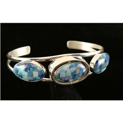 Reversible Turquoise & Opal Lapis Mosaic Cuff