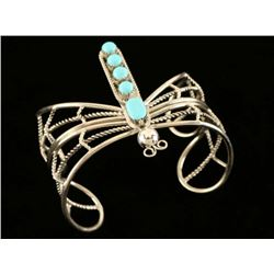 Native American Sterling Turquoise Butterfly Cuff