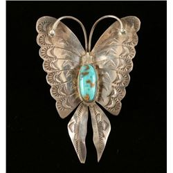 Hammered Sterling & Turquoise Butterfly Pin