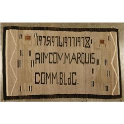 Navajo Rug with Lettering
