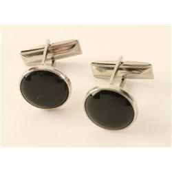 Black Onyx & Silver Cuff Links
