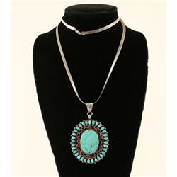 Old Pawn Turquoise Coral & Silver Pendant