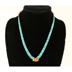 Santo Domingo Turquoise & Heishi Shell Necklace