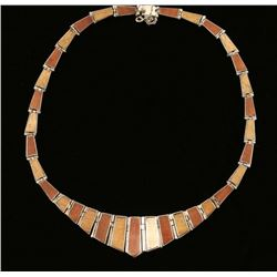 Hinged Wood Inlay Sterling Necklace