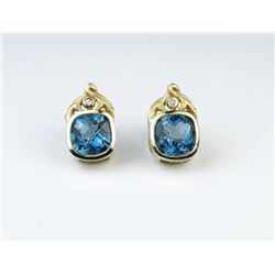 Custom Checkerboard Cut Blue Topaz Earrings