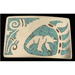 Inlaid Silver Turquoise Coral Bear Paw Belt Buckle