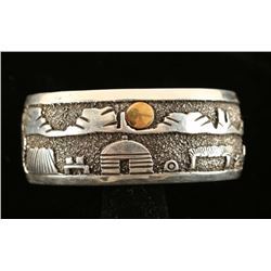 Gold Silver Navajo Storyteller Cuff