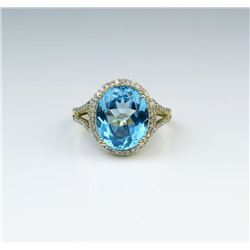 Captivating Swiss Blue Topaz & Diamond Ring