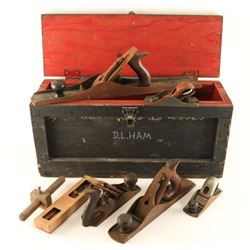 Crate with Vintage Wood Planes