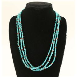 Native American Turquoise Coral Necklace