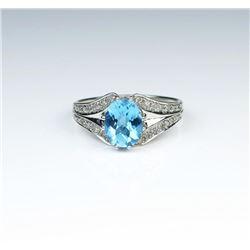 Brilliant Blue Topaz & Diamond Ring
