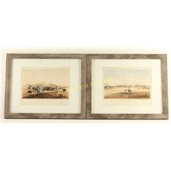 Lot of 2 Hand Colored Engravings