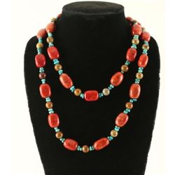 Apple Coral Turquoise Bead Necklace