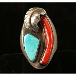 Native American Sterling, Coral & Turquoise Ring