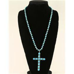 Navajo Turquoise Sterling Cross Pendant