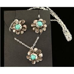 Silver & Turquoise Necklace & Earrings Set