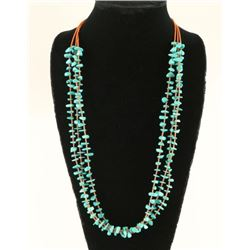 Three Strand Navajo Turquoise Bead Necklace