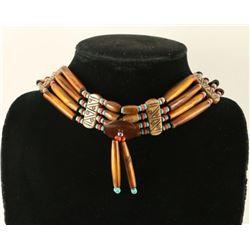 Native American Turquoise & Coral Bone Choker