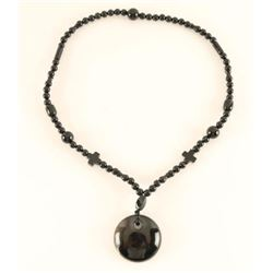 Black Bead Necklace with Pendant