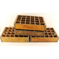 Lot of 4 Wooden Coca Cola Bottle Crates