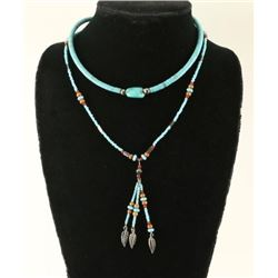 2 Native American Turquoise Silver Bead Necklaces