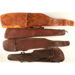 Lot of 4 Leather Rifle Scabbards