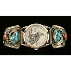 Turquoise & Coral Navajo Watch Tips