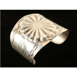 Hammered Repousee Sterling Native American Cuff