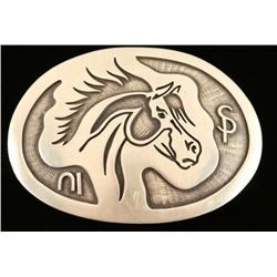 Overlaid Silver Native American Horse Belt Buckle